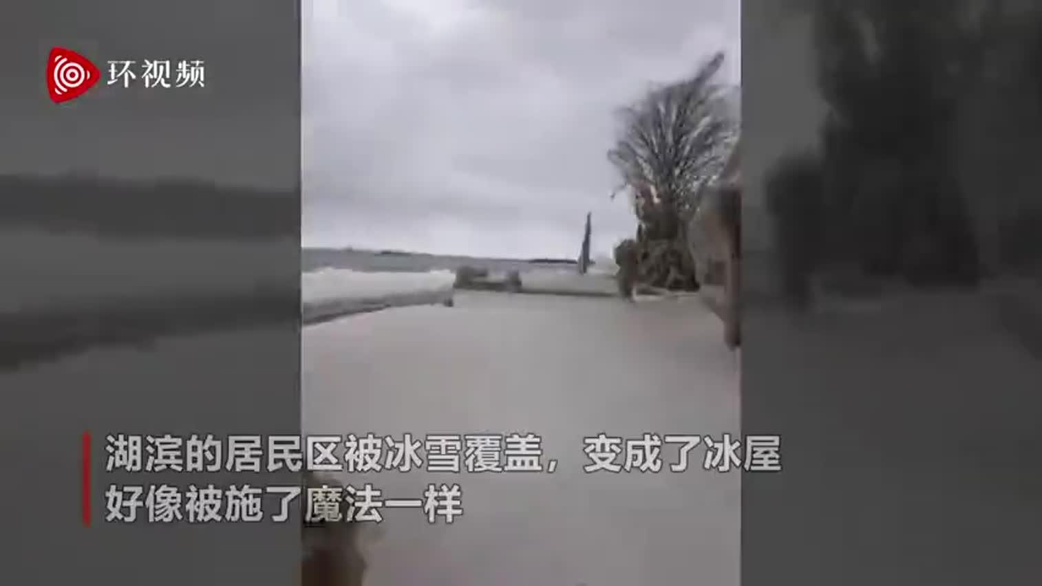 """视频-美国小镇遭暴风雪房屋被冻成""""冰雕"""" 似动画"""