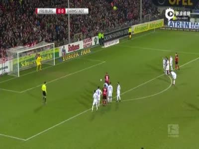 彼得森点球射门 弗赖堡1-0达姆施塔特